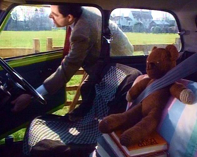 Teddy and Mr. Bean in the car